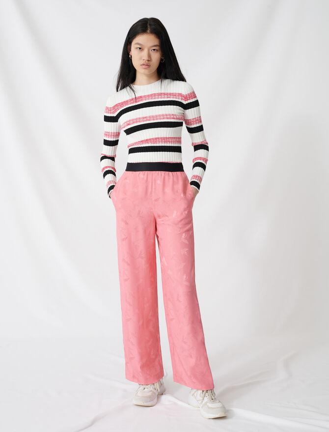 Satiny jacquard palazzo trousers - Pants & Jeans - MAJE