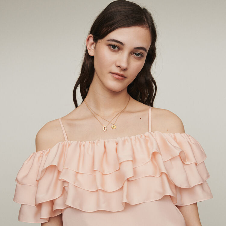 Strappy top with ruffles : Tops & T-Shirts color Mandarine