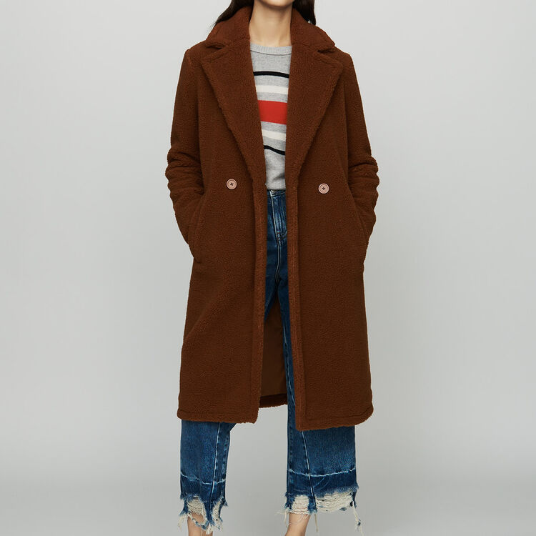 Long faux fur coat : Coats & Jackets color Brown