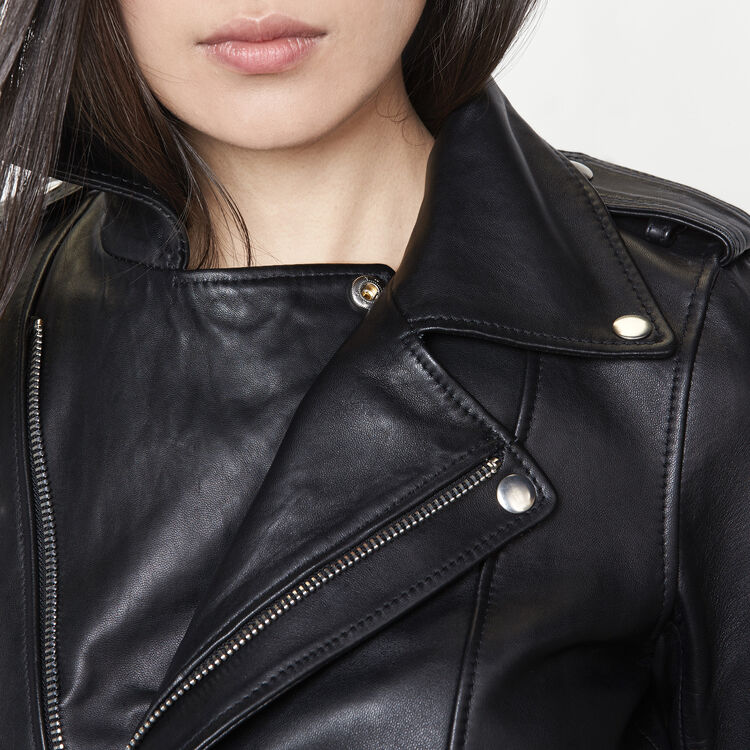 Leather jacket with belt : Coats & Jackets color