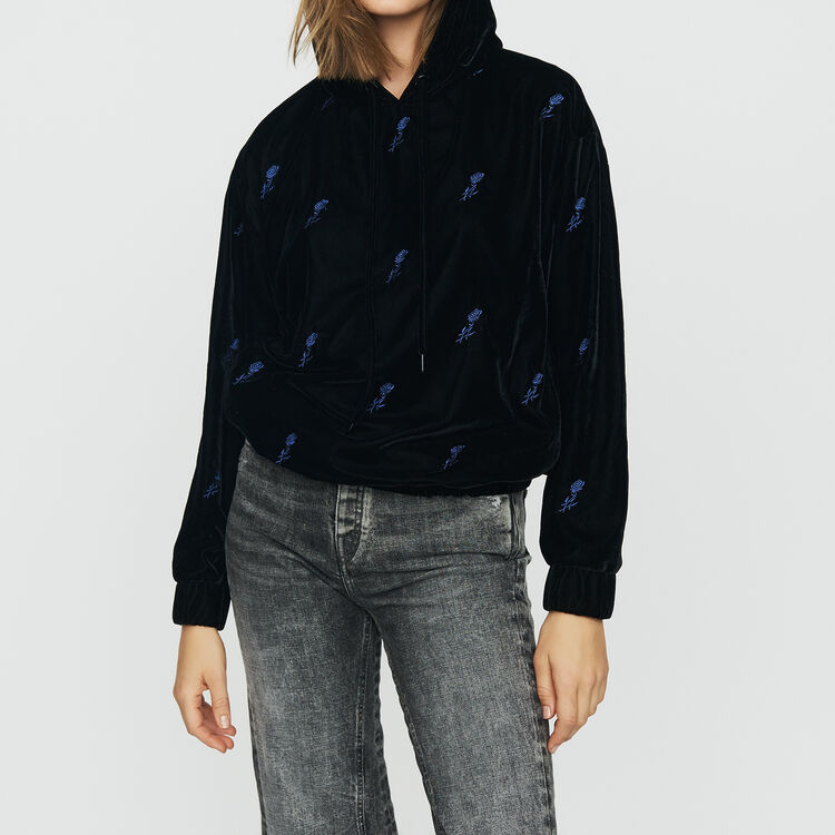 Hooded sweatshirt with embroidered : Tops & Shirts color Black 210