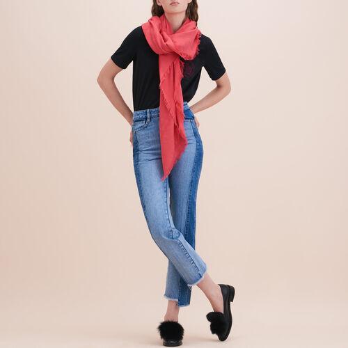 Cotton blend  shawl : Scarves color Black 210