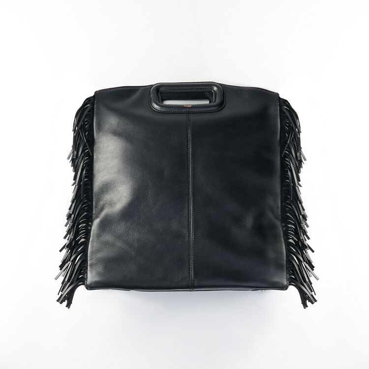 Tote with leather fringe : Other M color Black