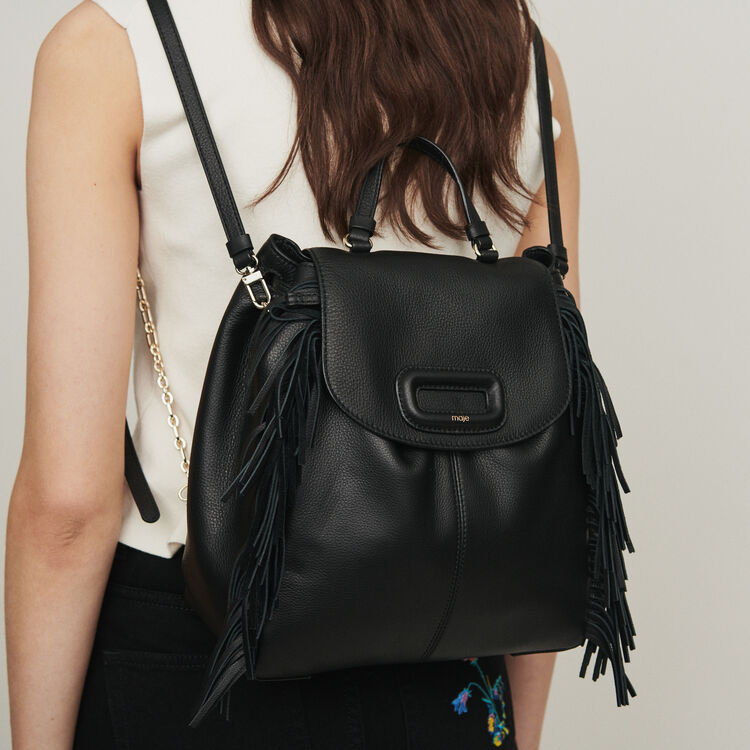 M backpack in leather with chain : The Essentials color Black 210