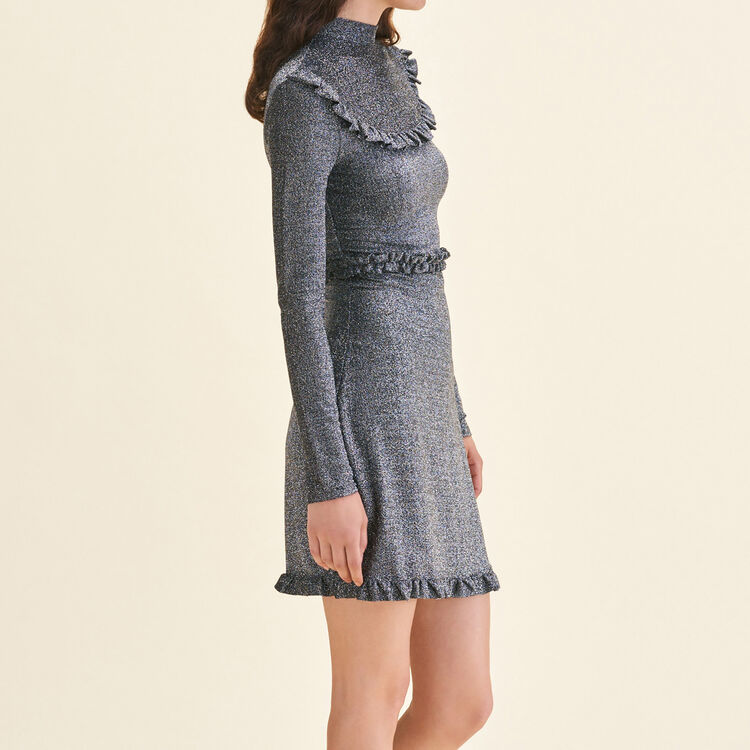 Short knit dress with frills : Dresses color Silver