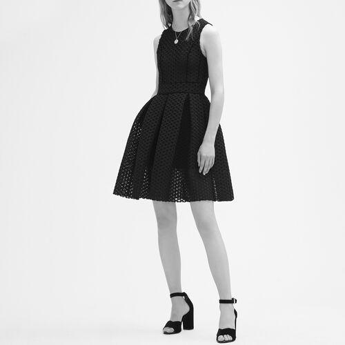 Basketweave-knit sleeveless dress : Dresses color Black 210