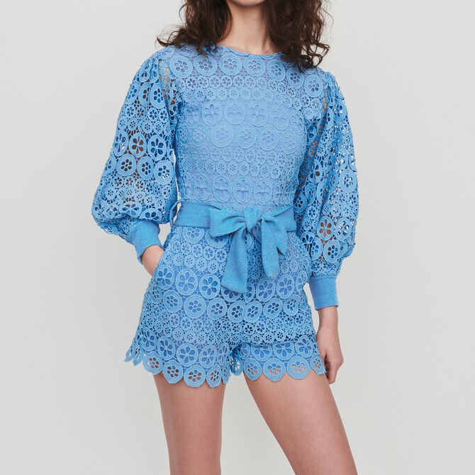 Romper in daisy guipure - Skirts & Shorts - MAJE