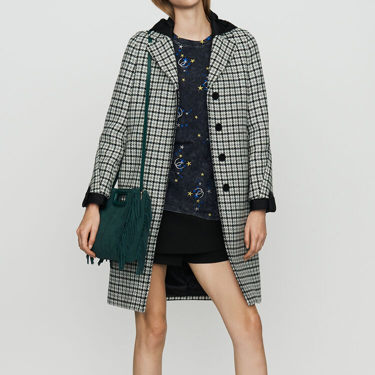 Straight fitted houndstooth print coat : Coats & Jackets color CARREAUX