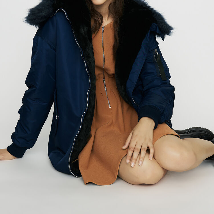 Long parka-style with hood with faux fur : Coats & Jackets color Blue
