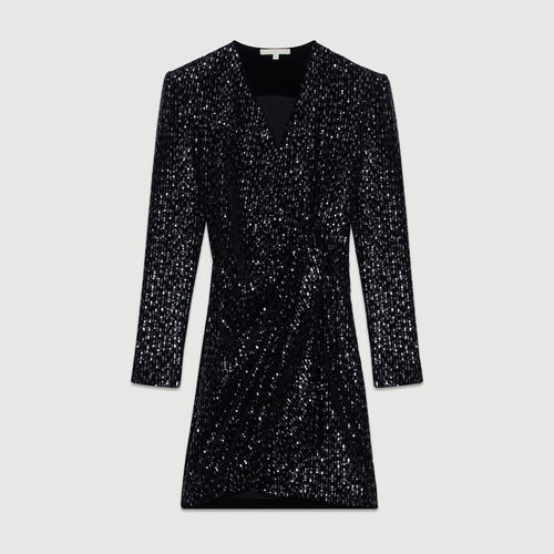 Wrap Dress with Sequins : Dresses color Black 210