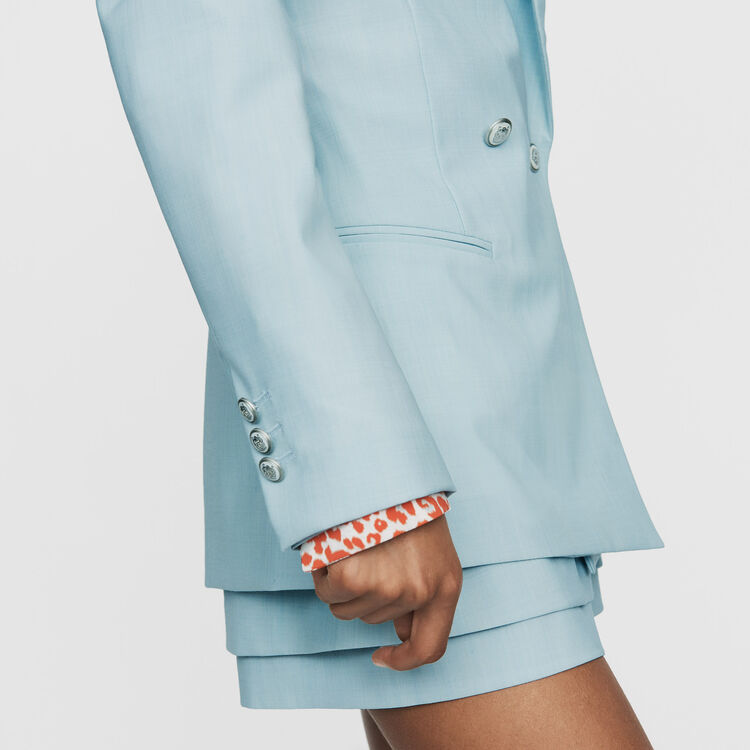 Long wool-blend blazer : New Collection color Blue Sky