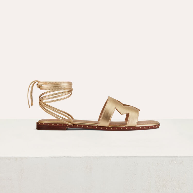 Flat leather sandals : Shoes & Accessories color Gold