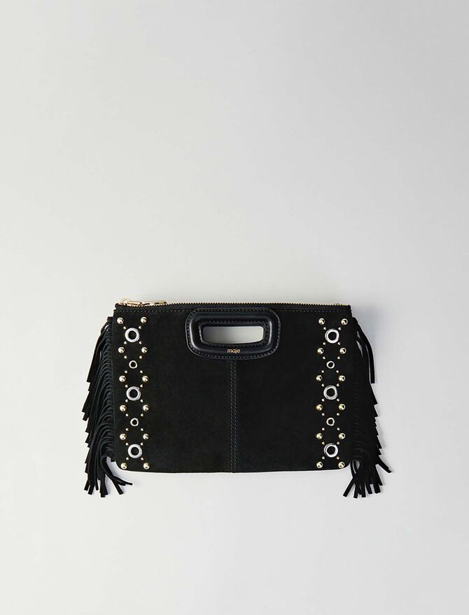 Suede M Duo purse with eyelets -  - MAJE