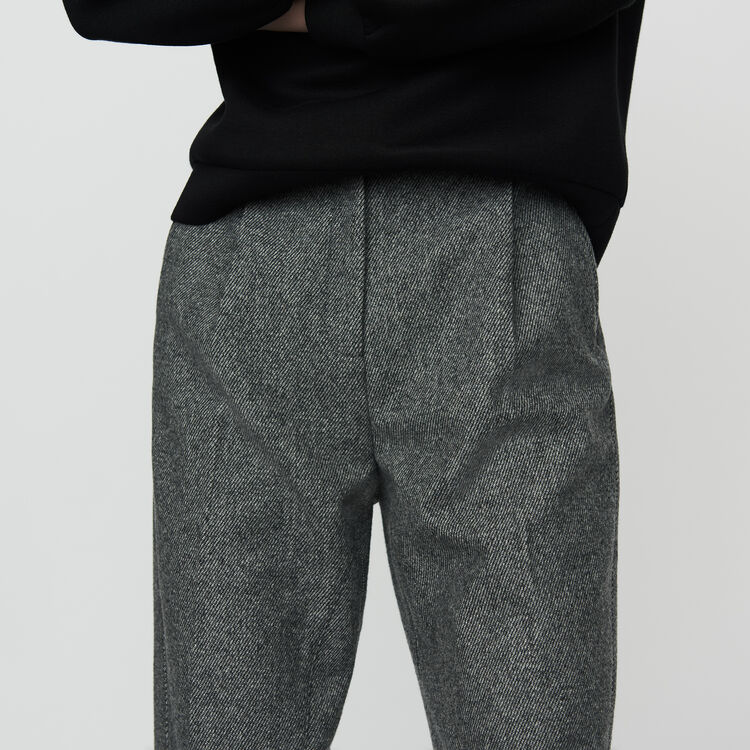 Wool-blend twill pants : Pants & Jeans color Grey