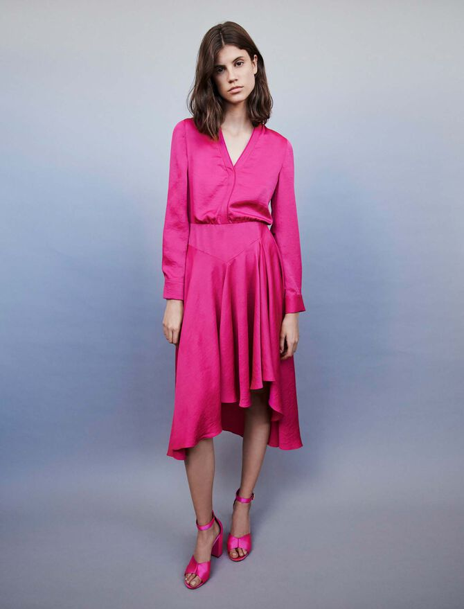 Asymmetrical satin dress - Dresses - MAJE