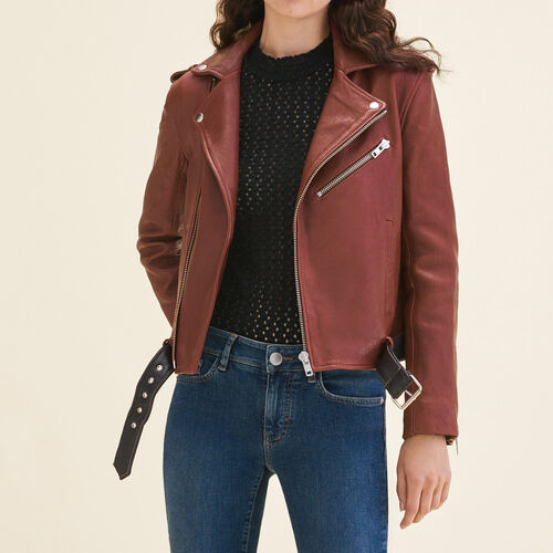 Leather jacket with contrasting belt : Coats & Jackets color BORDEAUX