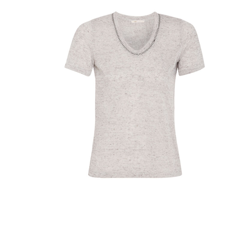 Short-sleeved linen T-shirt : Features color
