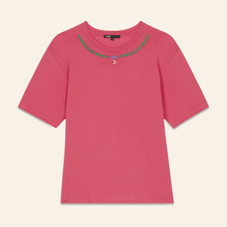 Embroidered T-shirt Friday : Tops & T-Shirts color Pink