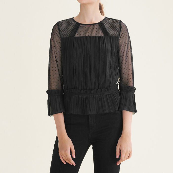 Flowing pleated top with dotted Swiss : Tops & Shirts color Black 210