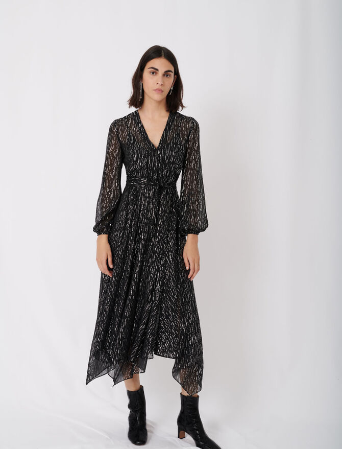 Belted muslin dress with scarf print - Dresses - MAJE