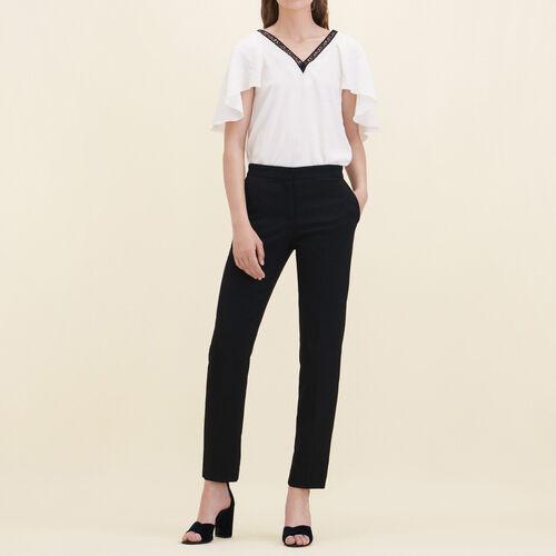 Straight-cut crêpe trousers : Pants & Jeans color Black 210