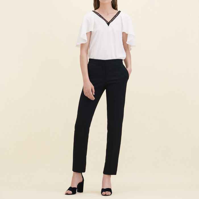 Straight-cut crêpe trousers -  - MAJE