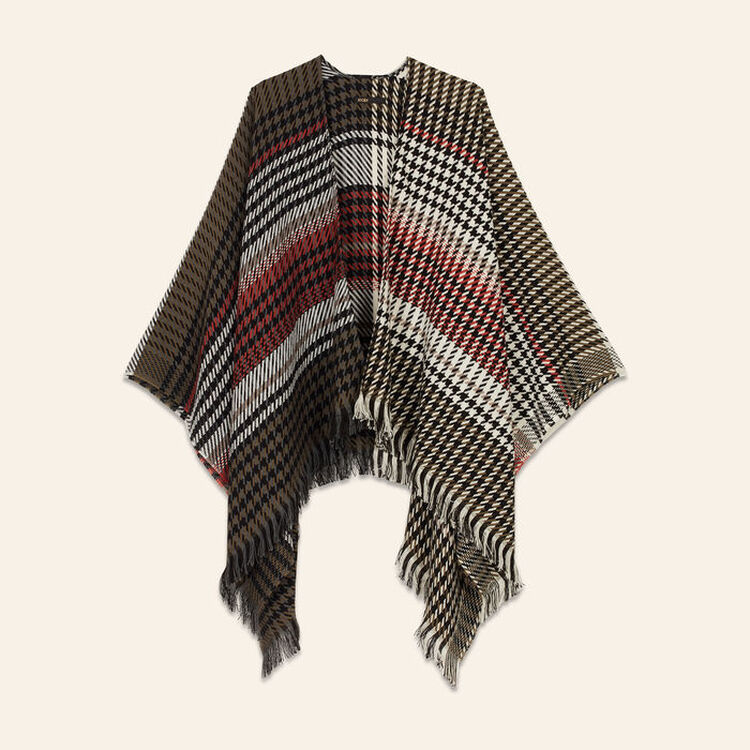 Multi-coloured houndstooth poncho : Scarves color Multico