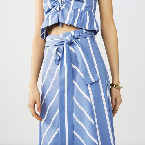 Long striped skirt with buckles : Skirts & Shorts color Blue