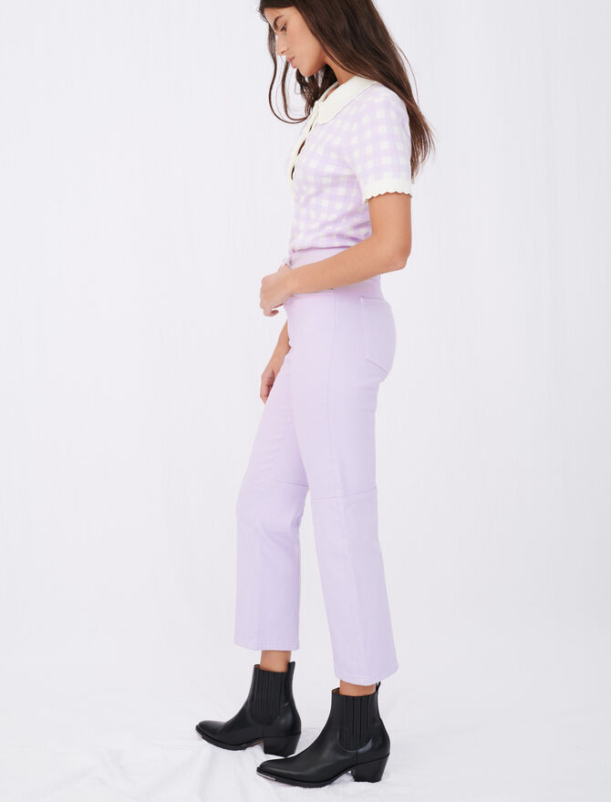 Coloured straight-cut jeans with cutouts - Pants & Jeans - MAJE