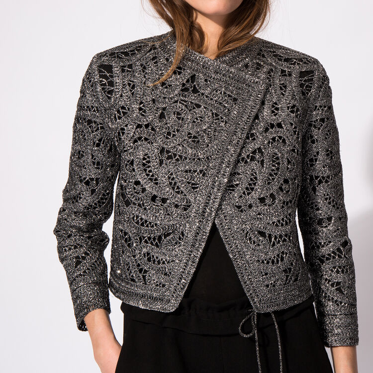 Lurex crocheted cardigan : The Zoe Report color