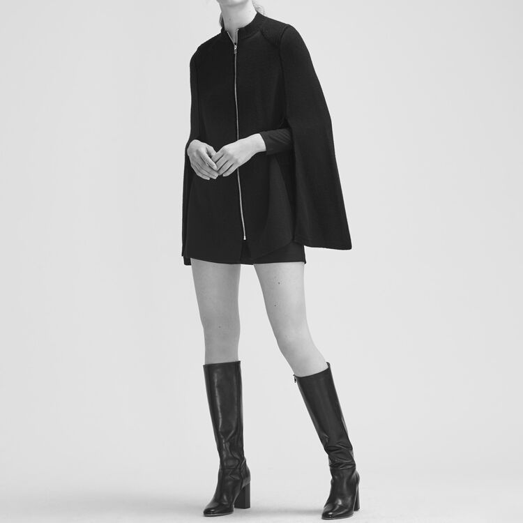 Knitted cape with contrasting details : Sweaters color Black 210