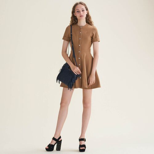 Buttoned skater dress : Air du temps color Camel