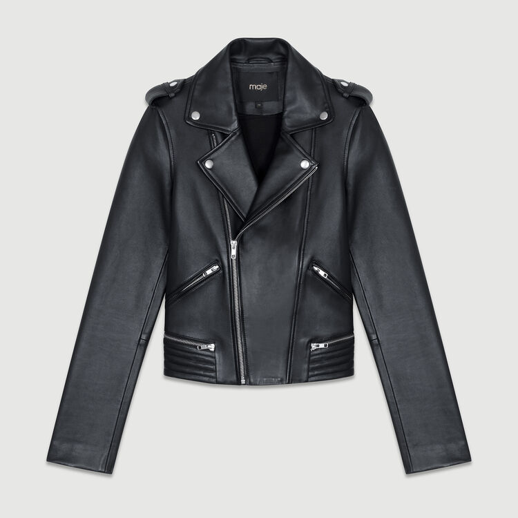 Leather jacket : The Spring Essentials color Black 210