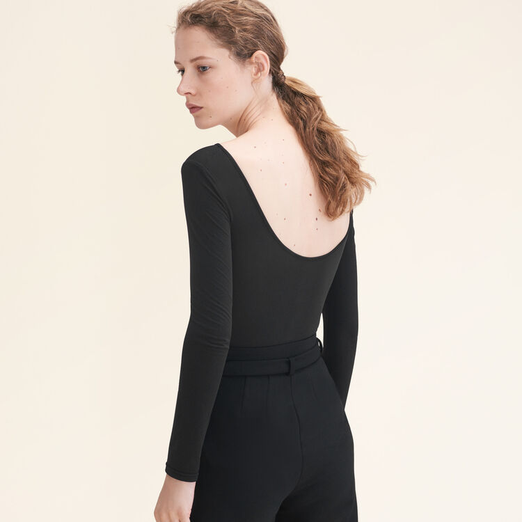 Long-sleeved jersey body : Sweaters color Black 210