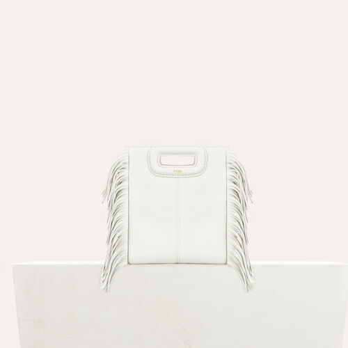 Fringed leather M minibag : M Mini color White