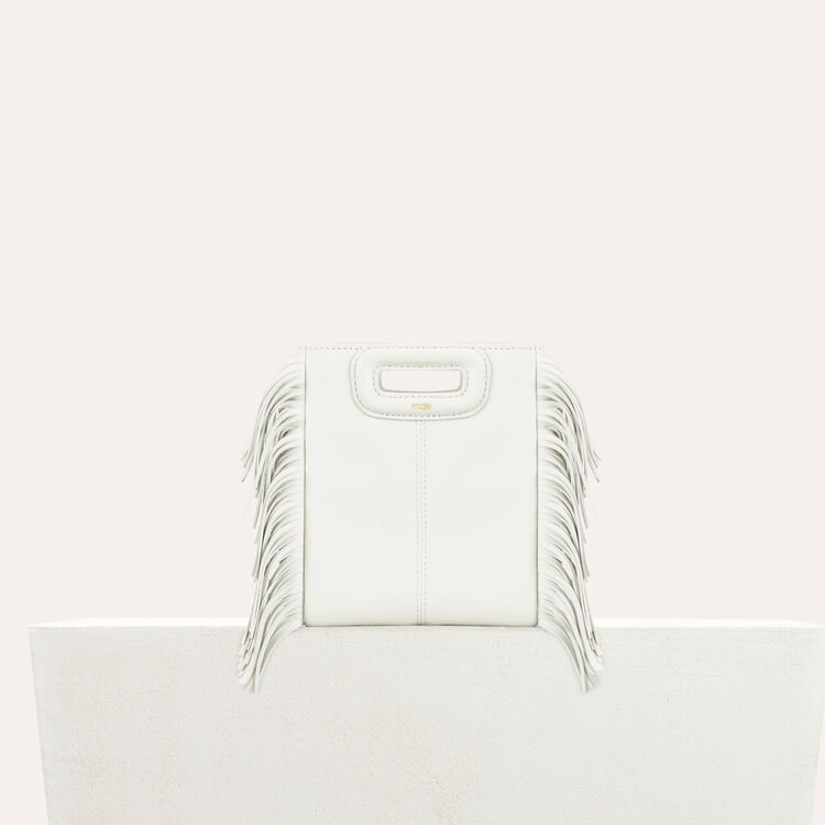 Fringed leather M minibag : Shoes & Accessories color White