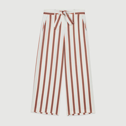Wide striped pants with belt : Pants & Jeans color Stripe