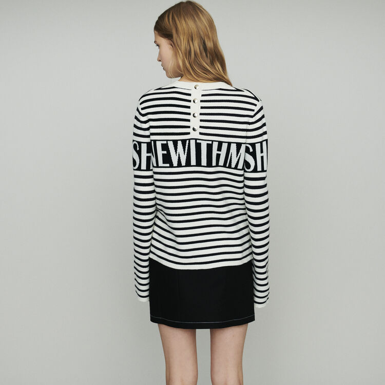 Striped sailor sweater : Sweaters color Ecru