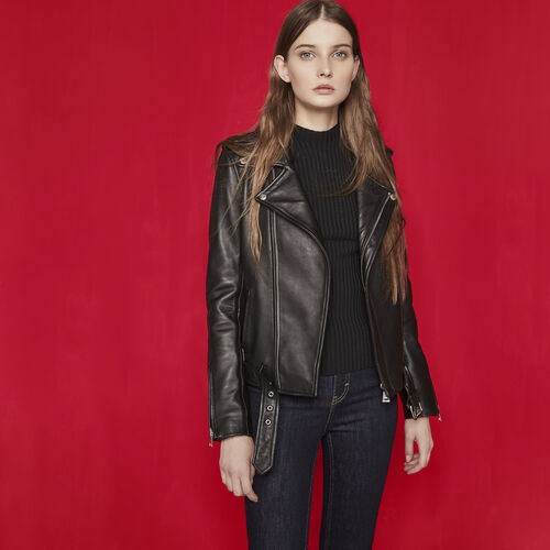 Leather jacket with belt : The Leather Edit color Black 210