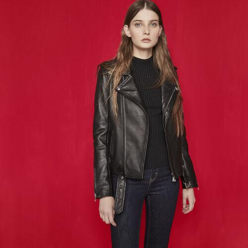 Leather jacket with belt : Carryover color Black 210