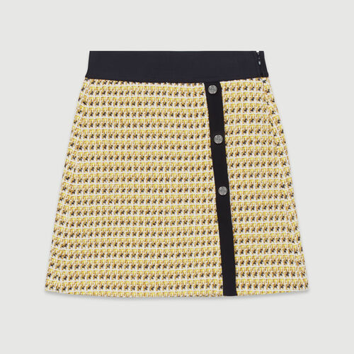 Short skirt in tweed and lurex : New in: Spring Collection color Yellow