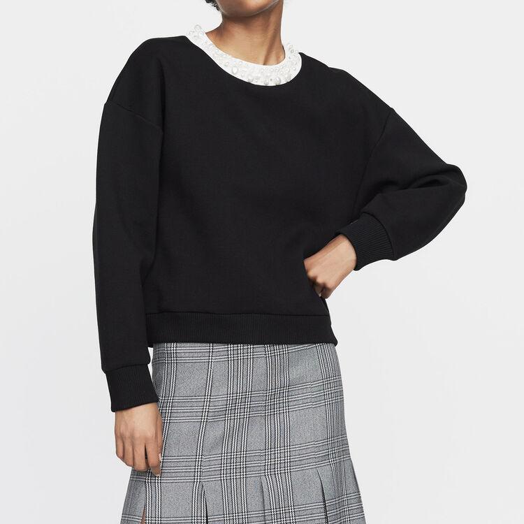 Fleece sweatshirt with pearls : New Collection color Black 210