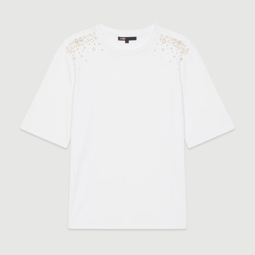 Cotton T-shirt with pearl detailing : Tops & Shirts color White
