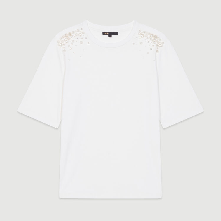 Cotton T-shirt with pearl detailing : Tops & T-Shirts color White
