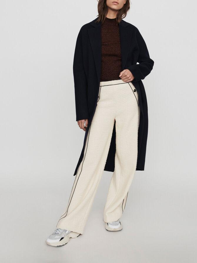 Tweed-style contrast wide-leg pants - Pants & Jeans - MAJE