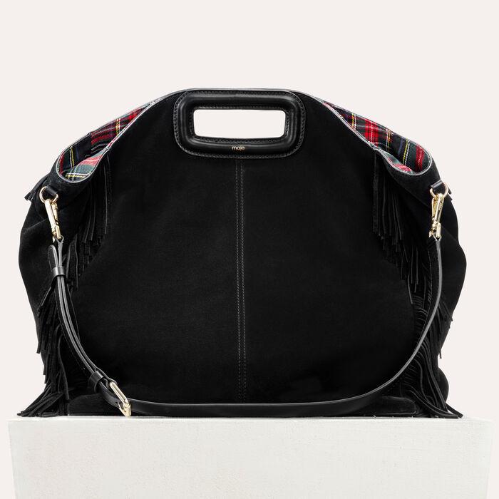 Tote With Suede Fringe Handbags Purses Color Black 210