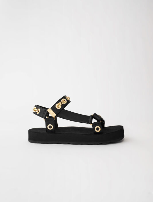 Leather sandals with eyelets and chain : Sandals color Black