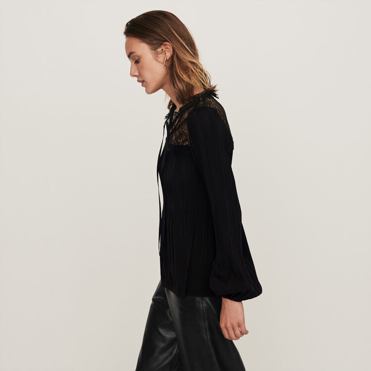Pleated top with lace trim : Tops & T-Shirts color Black