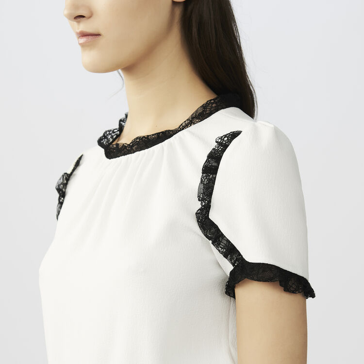 Crepe top with lace detail : Tops & Shirts color Ecru