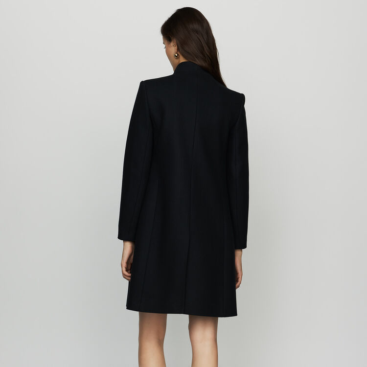 Straight coat in cashmere blend : Coats & Jackets color Navy